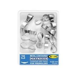 Matrici metalice conturate cu cleme, premolari 1542, 10 buc - TOR VM
