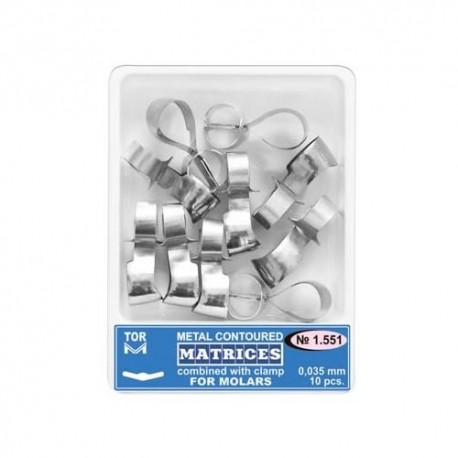 Matrici metalice conturate cu cleme, molar, 1.551, 10 buc - TOR VM