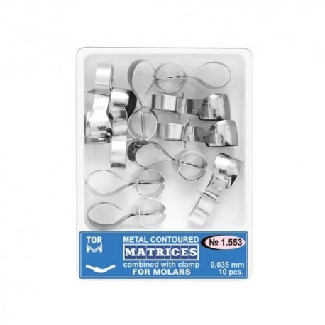 Matrici metalice conturate cu cleme, molari, 1.553, 10 buc - TOR VM
