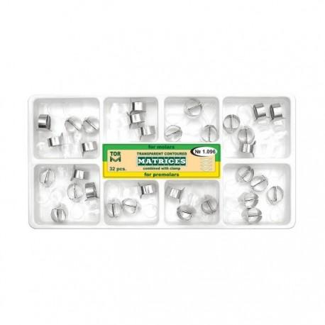Kit matrici transparente cu cleme, molari, premolari 1.096, 32 buc - TOR VM