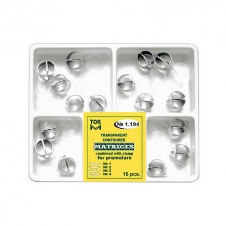 Kit matrici transparente conturate cu cleme, premolari 1.194, 16 buc - TOR VM