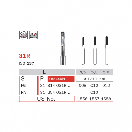 Freze extradure fisura turbina 31R - Diaswiss